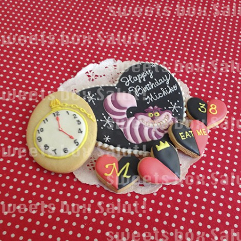 チシャ猫のお誕生日用アイシングクッキー1