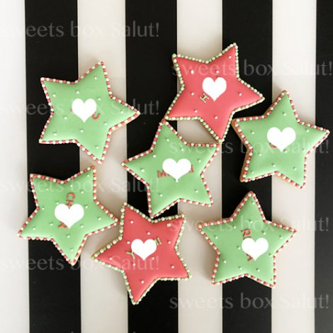 クリスマスカラーのアイシングクッキー