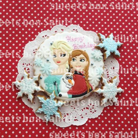 「アナと雪の女王」アナ、エルサ、オラフのお誕生日用アイシングクッキー1