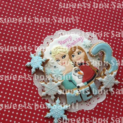 「アナと雪の女王」アナ、エルサ、オラフのお誕生日用アイシングクッキー2