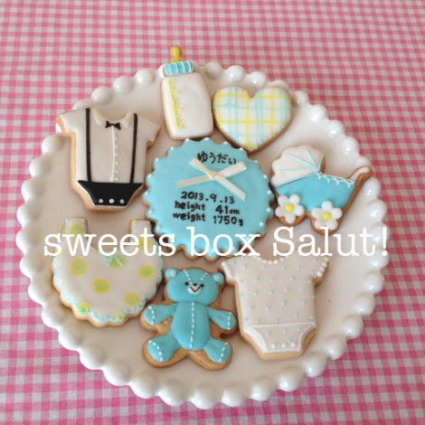 Baby boy誕生祝いのアイシングクッキー2