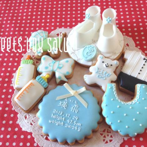 Baby boy誕生祝いのアイシングクッキー