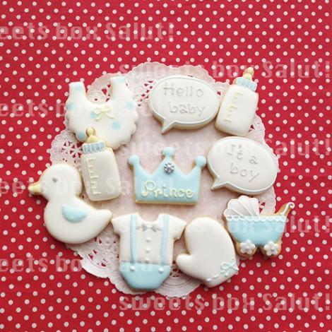 Babyboy 出産祝いのアイシングクッキー