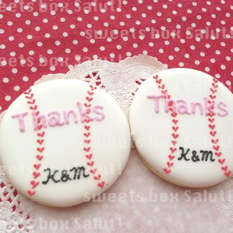 野球ボールの結婚式用アイシングクッキー1