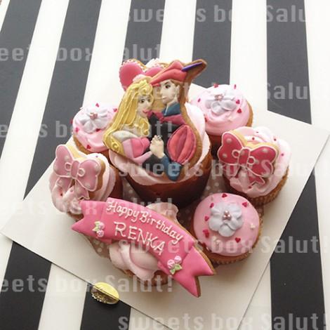 オーロラ姫のお誕生日用アイシングカップケーキ2