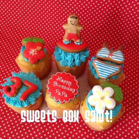 ハワイモチーフのお誕生日用アイシングカップケーキ2