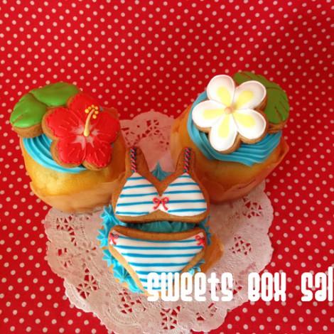 ハワイモチーフのお誕生日用アイシングカップケーキ3