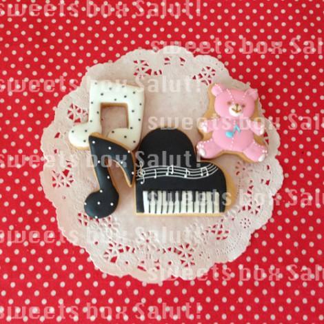 音楽とひまわりのお誕生日用アイシングクッキー