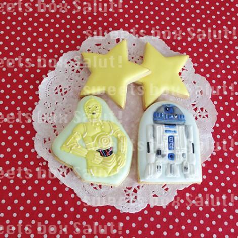 「STAR WARS」C-3POとR2-D2のお誕生日用アイシングクッキー