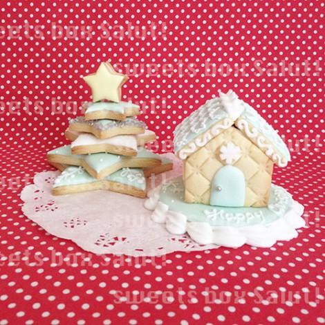 アイシングクッキーで作るクリスマスツリーとミニへクセンハウス1
