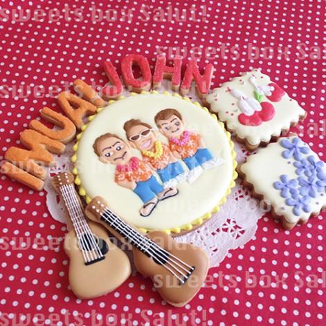 バンドマン、ギター&ウクレレのアイシングクッキー