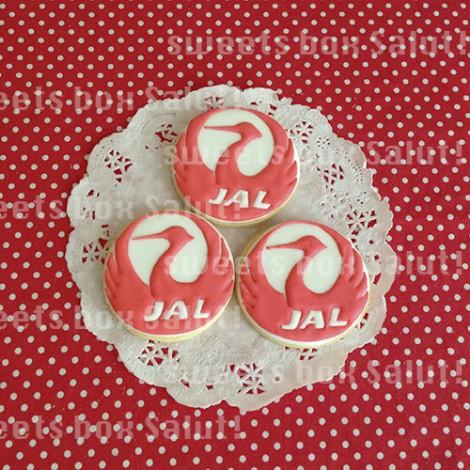 JAL鶴丸マークとアクセサリープレーンズのアイシングクッキー1
