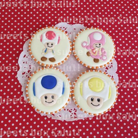 「マリオシリーズ」キノピオのお誕生日用アイシングクッキー1