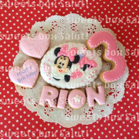 ミニーマウスのお誕生日用アイシングクッキー