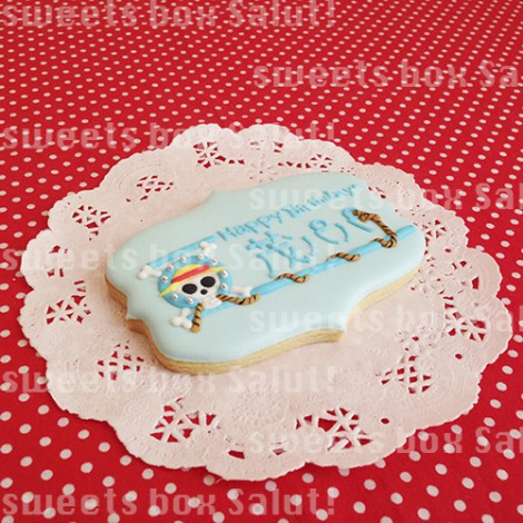 「ワンピース」ロゴのお誕生日プレートアイシングクッキー1