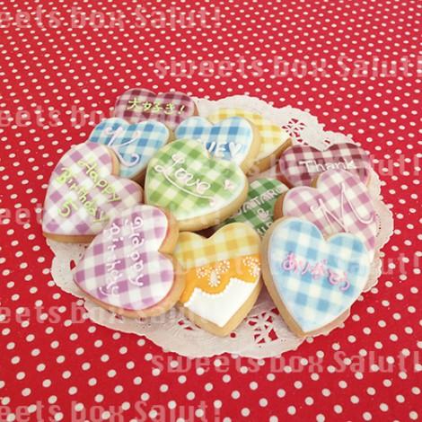 ギンガムチェックのプリントアイシングクッキー