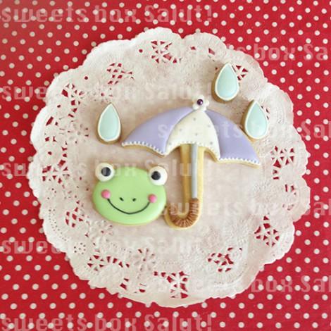 傘とカエルのアイシングクッキー