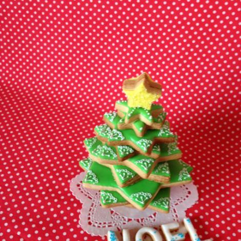 クリスマスツリーの3Dアイシングクッキー(セミ手作りセット)