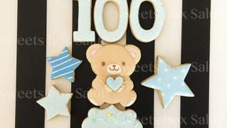 100日お祝いクマさんのアイシングクッキー