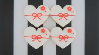 ハート型の熨斗(のし)アイシングクッキー
