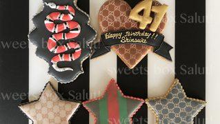 GUCCI風誕生日お祝いのアイシングクッキー