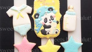 出産祝い用アイシングクッキー(パンダ赤ちゃん)