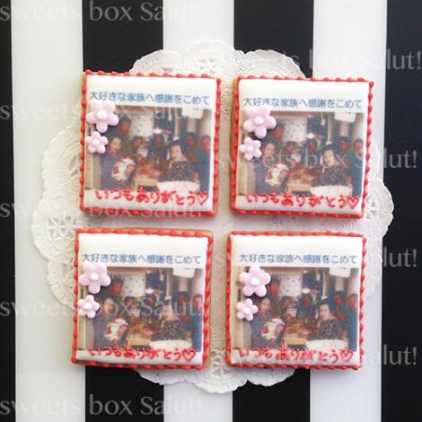 家族写真のプリントアイシングクッキー