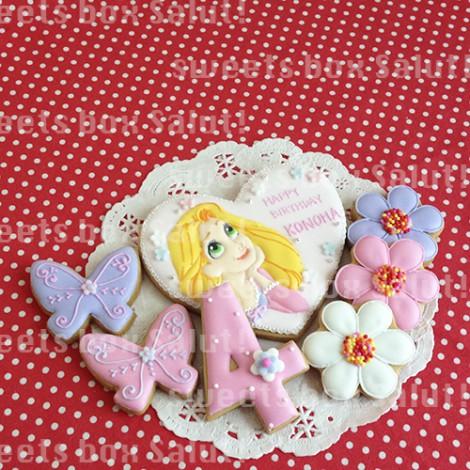 ラプンツェルのお誕生日用アイシングクッキー1