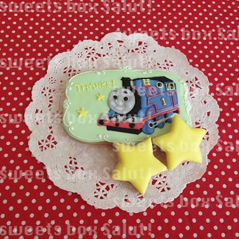 「機関車トーマス」のメッセージプレートアイシングクッキー