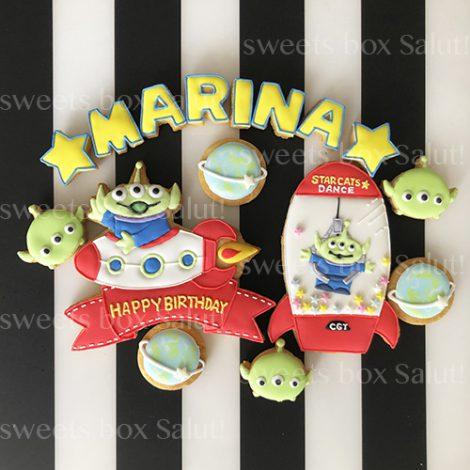 エイリアンのお誕生日アイシングクッキー