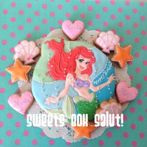 「リトル・マーメイド」アリエルのお誕生日用アイシングクッキー2