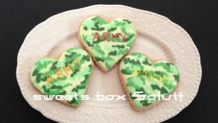 迷彩(カモフラ)のアイシングクッキー