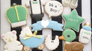 Baby boy 出産祝いのアイシングクッキー&シュガークラフト