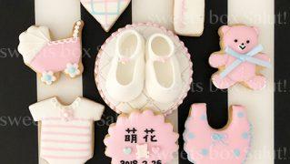 Baby girl 出産祝いのアイシングクッキー&シュガークラフト