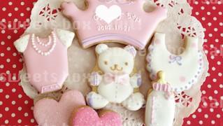 女の子の出産お祝いのアイシングクッキー