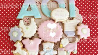 Baby girl 誕生祝いのアイシングクッキー