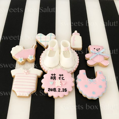 Baby girl 出産祝いのアイシングクッキー&シュガークラフト1