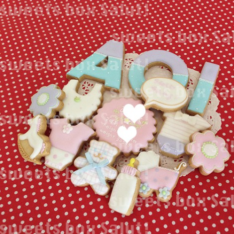 Baby girl 誕生祝いのアイシングクッキー1