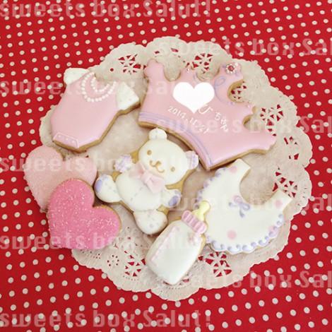 女の子の出産お祝いのアイシングクッキー1