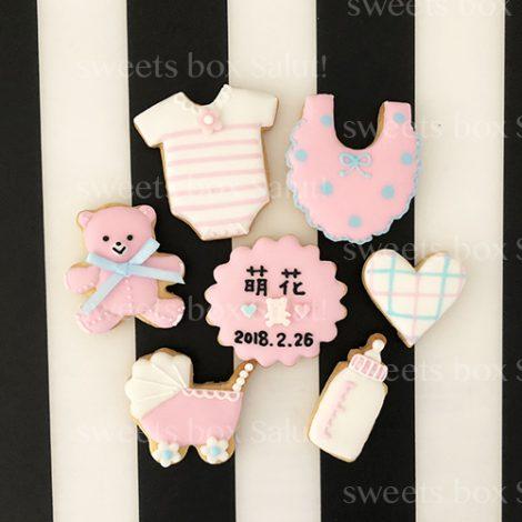 Baby girl 出産祝いのアイシングクッキー&シュガークラフト2