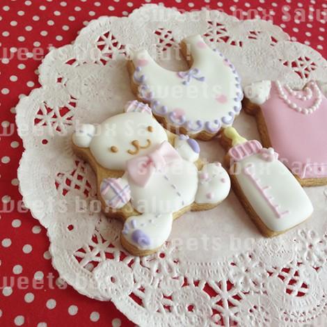 女の子の出産お祝いのアイシングクッキー5