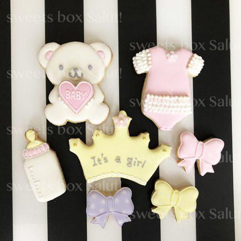 Baby girl 出産祝い用アイシングクッキー(くまちゃん付)