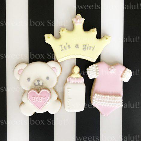Baby girl 出産祝い用アイシングクッキー(くまちゃん付)1