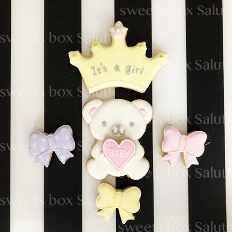Baby girl 出産祝い用アイシングクッキー(くまちゃん付)2