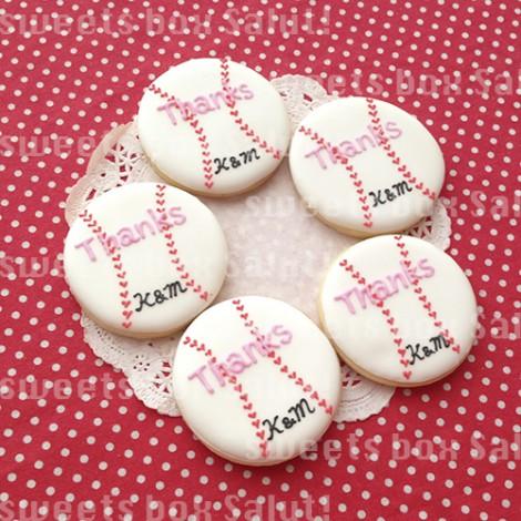 野球ボールの結婚式用アイシングクッキー