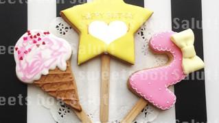 お誕生日用アイシングクッキーポップス
