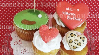 ゴルフ&ラブなハートのお誕生日用カップケーキ