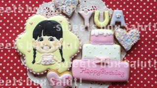 お誕生日の似顔絵アイシングクッキー
