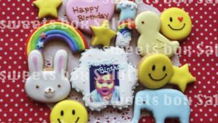 1歳のお誕生日用プリントアイシングクッキー