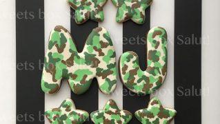 カモフラ柄アルファベットアイシングクッキー
